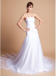 A-Line/Princess Strapless Chapel Train Organza Satin Wedding Dress With Ruffle Lace Beading (002001278)