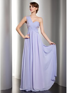 A-Linie/Princess-Linie Eine Schulter Bodenlang Chiffon Festliche Kleid mit Rüschen Lace Perlstickerei Pailletten (020014529)