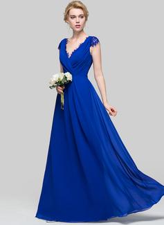 Vestidos princesa/ Formato A Decote V Longos Tecido de seda Vestido de baile com Pregueado (018112663)