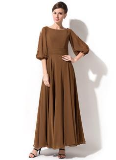 A-Linie/Princess-Linie U-Ausschnitt Knöchellang Chiffon Kleid für die Brautmutter (008042823)