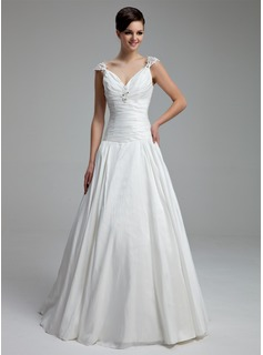 A-Line/Princess V-neck Floor-Length Taffeta Wedding Dress With Ruffle Beading Appliques Lace (002012805)