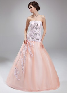 Duchesse-Linie Trägerlos Bodenlang Tüll Quinceañera Kleid (Kleid für die Geburtstagsfeier) mit Perlstickerei Applikationen Spitze Pailletten (021020824)