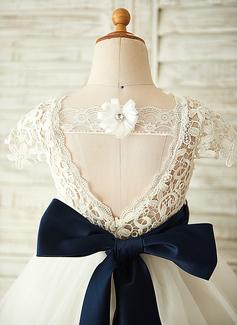 A-Linie/Princess-Linie U-Ausschnitt Knielang Tüll Kleid für junge Brautjungfern mit Schleifenbänder/Stoffgürtel Blumen (009126267)