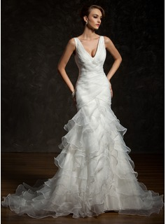 Trumpet/Mermaid V-neck Chapel Train Satin Organza Wedding Dress With Cascading Ruffles (002011678)