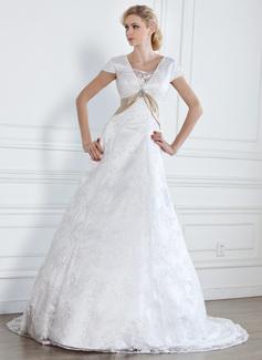 A-Line/Princess V-neck Court Train Satin Lace Wedding Dress With Sash Crystal Brooch (002005313)