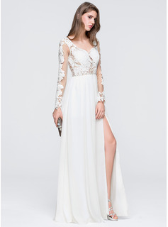 A-Line/Princess Sweetheart Floor-Length Chiffon Wedding Dress With Split Front (002118455)