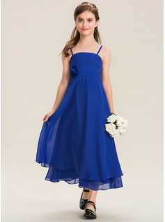 A-Line Square Neckline Ankle-Length Chiffon Junior Bridesmaid Dress With Ruffle Flower(s) (009173310)