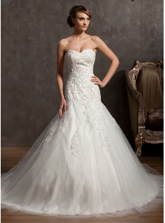 Ball-Gown Sweetheart Cathedral Train Tulle Lace Wedding Dress With Beading (002014962)