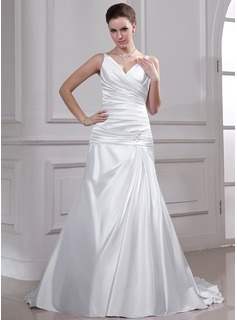 A-Line/Princess V-neck Court Train Charmeuse Wedding Dress With Ruffle Beading (002012757)