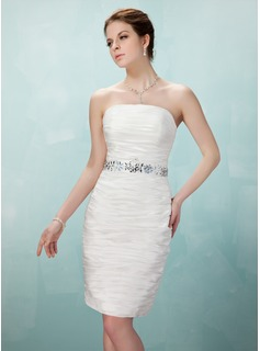 Sheath/Column Strapless Knee-Length Taffeta Cocktail Dress With Ruffle Beading (016008250)