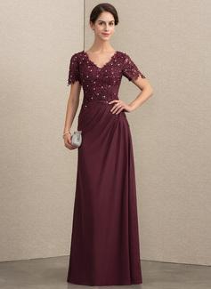 A-Linie V-Ausschnitt Bodenlang Chiffon Spitze Kleid für die Brautmutter mit Perlstickerei (008164072)