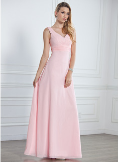 A-Line/Princess V-neck Floor-Length Chiffon Bridesmaid Dress With Ruffle (007001785)