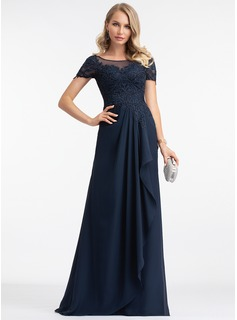 A-Line Scoop Neck Floor-Length Chiffon Evening Dress With Beading Sequins (017198679)