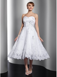 A-Line/Princess Sweetheart Tea-Length Satin Organza Wedding Dress With Ruffle Beading Appliques Lace (002012010)