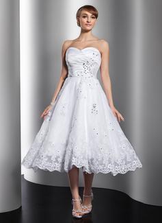 A-Linie/Princess-Linie Herzausschnitt Wadenlang Satin Organza Brautkleid mit Rüschen Perlen verziert Applikationen Spitze (002012010)