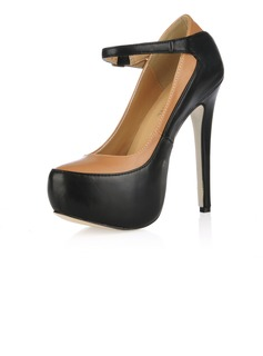Leatherette Stiletto Heel Pumps Platform Closed Toe With Buckle shoes (085017475)