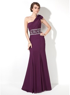 Trumpet/Mermaid One-Shoulder Floor-Length Chiffon Evening Dress With Ruffle Beading Bow(s) (017005817)