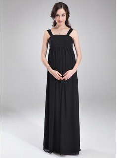 Empire Square Neckline Floor-Length Chiffon Maternity Bridesmaid Dress With Ruffle (045004392)