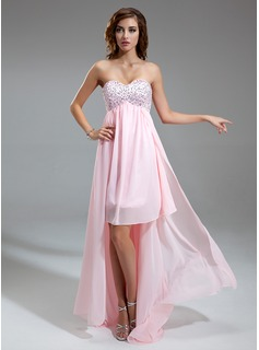 Empire Sweetheart Asymmetrical Chiffon Homecoming Dress With Ruffle Beading Sequins (022009969)
