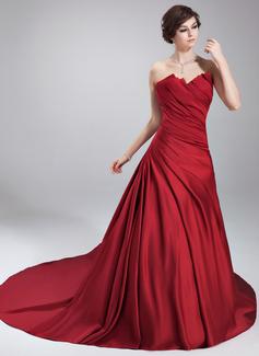 Duchesse-Linie Wellenkante Kapelle-schleppe Satin Quinceañera Kleid (Kleid für die Geburtstagsfeier) mit Rüschen (021020668)