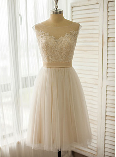 A-Line Illusion Knee-Length Tulle Lace Wedding Dress (002118042)