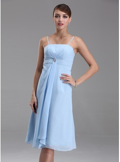 Cheap Bridesmaid Dresses Empire Tea-Length Chiffon Bridesmaid Dress With Ruffle Crystal Brooch (007001080)