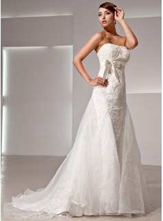 Empire Strapless Court Train Organza Satin Lace Wedding Dress With Bow(s) (002014426)