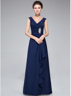 Sheath/Column V-neck Floor-Length Jersey Mother of the Bride Dress With Beading Sequins Cascading Ruffles (008042328)