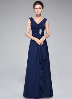 Etui-Linie V-Ausschnitt Bodenlang Jersey Kleid für die Brautmutter mit Perlstickerei Pailletten Gestufte Rüschen (008042328)