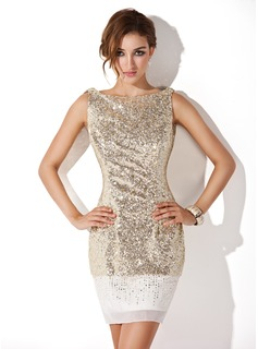 Holiday Dresses Sheath Scoop Neck Short/Mini Chiffon Sequined Cocktail Dress (016008346)
