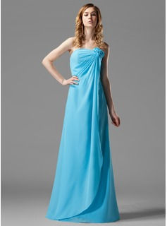 Formal Dresses Sheath Strapless Floor-Length Chiffon Bridesmaid Dress With Ruffle Flower(s) (007004157)