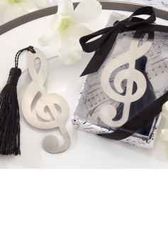 Treble Clef Brushed Metal Bookmark Favor With Elegant Silk Tassel (051008923)