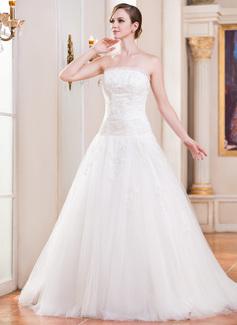 Corte de baile Estrapless Tren de la catedral Tul Vestido de novia con Volantes Encaje Bordado Lentejuelas (002055083)