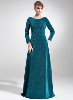 Empire-Linie U-Ausschnitt Sweep/Pinsel zug Samt Kleid für die Brautmutter mit Perlen verziert (008005916)