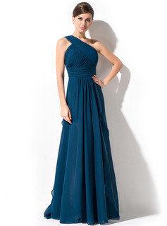 A-Line/Princess One-Shoulder Floor-Length Chiffon Evening Dress With Cascading Ruffles (017051642)
