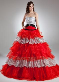 Duchesse-Linie Trägerlos Bodenlang Organza Quinceañera Kleid (Kleid für die Geburtstagsfeier) mit Perlen verziert Kristalle Blumen Brosche Gestufte Rüschen (021015954)