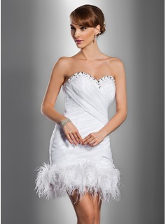 Sheath/Column Sweetheart Short/Mini Satin Organza Wedding Dress With Ruffle Beading Feather Flower(s) (002012076)