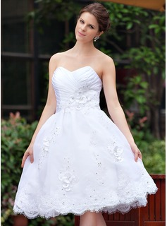 A-Line/Princess Sweetheart Knee-Length Taffeta Organza Wedding Dress With Ruffle Lace Beading Flower(s) (016026254)