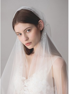 One-tier Elbow Bridal Veils With Rhinestones (006182541)