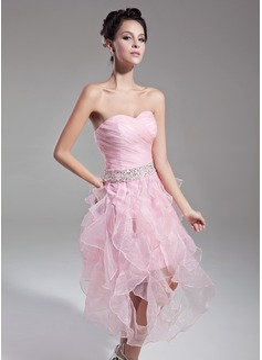 A-Linie/Princess-Linie Herzausschnitt Wadenlang Organza Cocktailkleid mit Perlen verziert Pailletten Gestufte Rüschen (016015121)