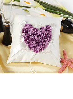 Ring Pillow in Satin With Heart Shaped Rose (103018412)