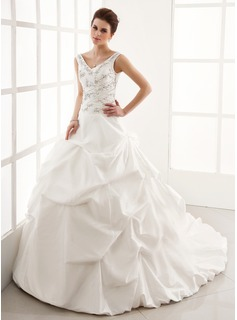 Ball-Gown V-neck Cathedral Train Taffeta Wedding Dress With Ruffle Beading (002004595)