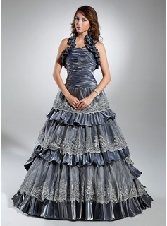 Robe Marquise Dos nu Balayage/Pinceau train Taffeta Robe Quinceanera avec Dentelle Robe à volants (021015351)