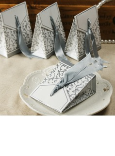 Flower Design Favor Boxes With Ribbons (Set of 12) (050005520)