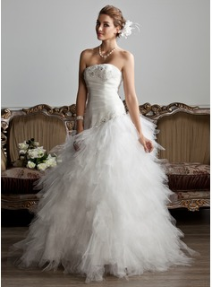 A-Line/Princess Strapless Floor-Length Satin Tulle Wedding Dress With Ruffle Beading Appliques Lace (002013799)