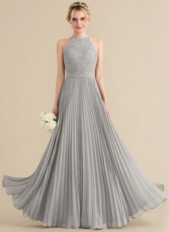 A-Linie/Princess-Linie U-Ausschnitt Bodenlang Chiffon Spitze Brautjungfernkleid mit Gefaltet (007144770)