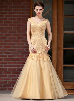 Trompete/Meerjungfrau-Linie V-Ausschnitt Bodenlang Satin Tüll Kleid für die Brautmutter mit Perlstickerei (008018982)