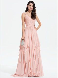 A-Line V-neck Sweep Train Chiffon Evening Dress With Lace Beading Sequins (017196088)
