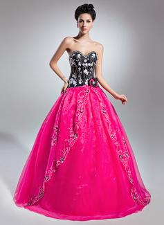 Corte de baile Novio Hasta el suelo Organdí Vestido de quinceañera con Cuentas Los appliques Encaje Flores Lentejuelas (021015139)