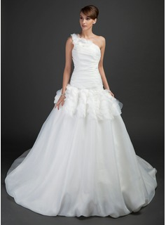 Ball-Gown One-Shoulder Chapel Train Organza Wedding Dress With Ruffle (002015357)